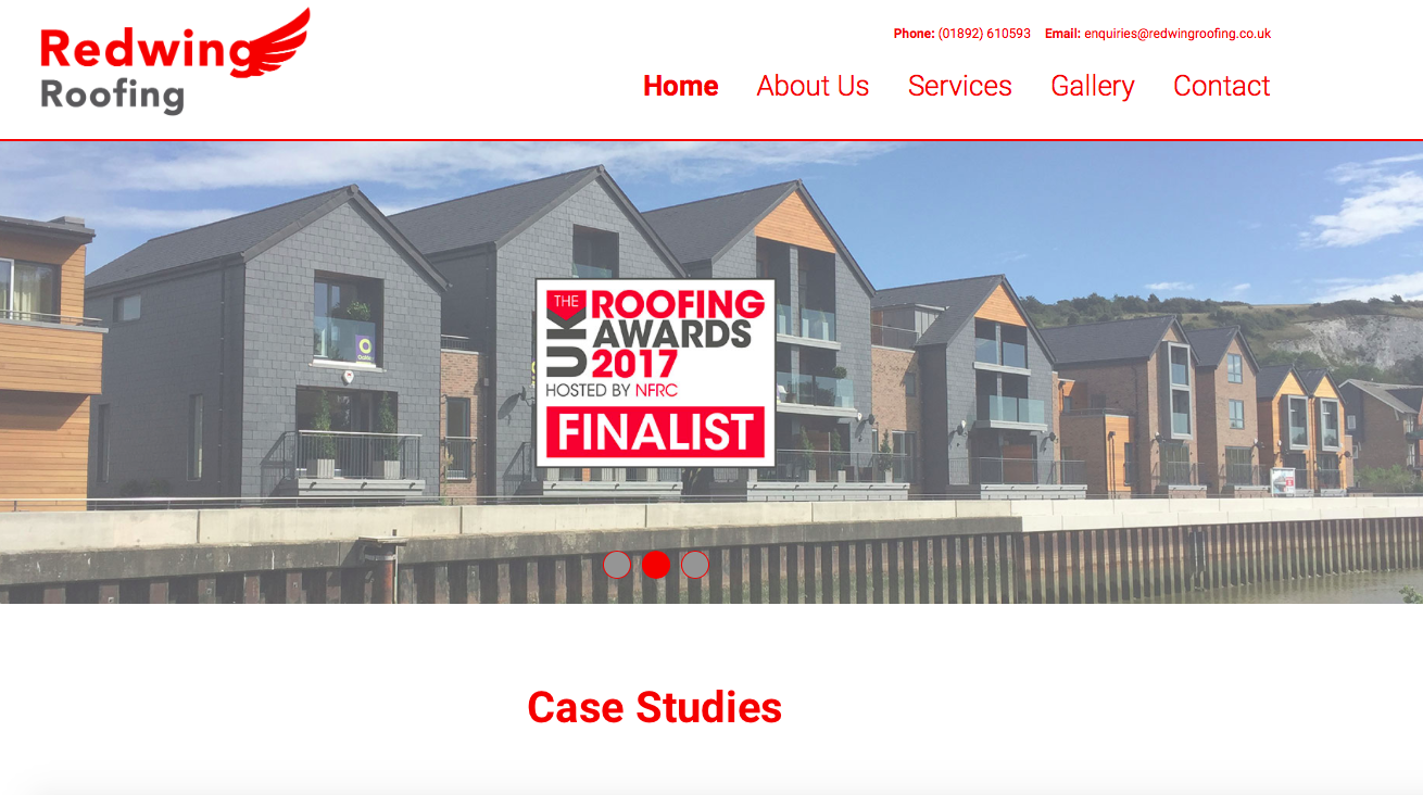 Redwing roofing logo, Roofing Award Finalist logo and image of roofing project at Chandlers Wharf